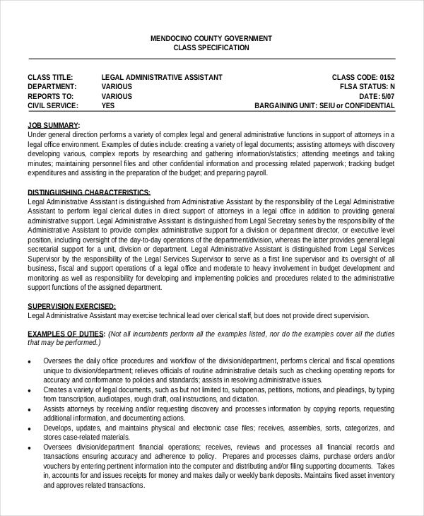 6+ Legal Administrative Assistant Resume Templates Free