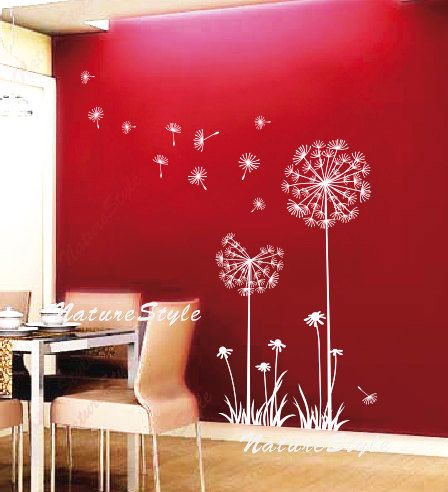 Dandelion wall decal flower kids girl nursery wall mural wall decal