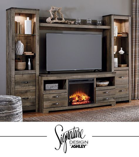 Trinell Entertainment Wall Fireplace Insert Option Tv Stand
