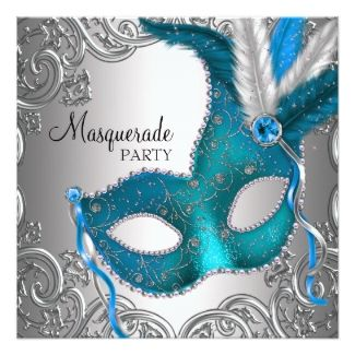 Teal Blue Silver Mask Masquerade Ball Party Custom Invites 21st