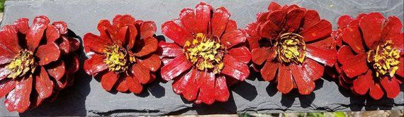 Painted Pine cone daisy Flowers Pine cone Zinnia Flowers Zinnia Pine cones wreath Red daisy  SET OF #pineconeflowers