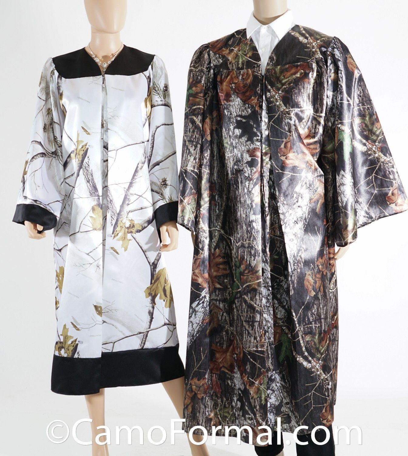 Camo graduation gown shown in the ap snow realtree with black trim or mossy oak new