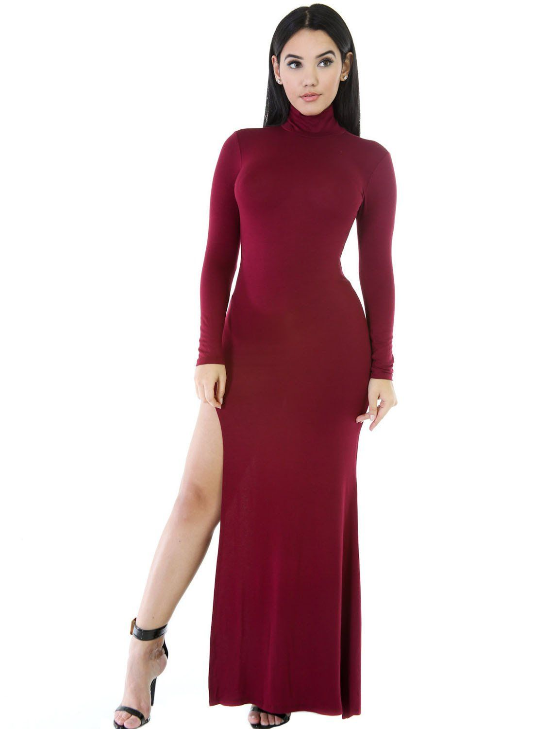 Robes Maxi Jersey Vin Rouge Manches Longues Cote Fendu Col Roule Pas Cher  www.modebuy.com  Modebuy  Modebuy  Rouge fddf433d160d