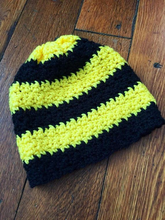 Black and Yellow Striped Beanie Adult Hand Crochet  73ddd1795a4