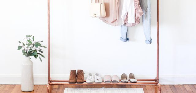 A DIY Copper Clothing Stand to Complement Your Minimalist Decor is part of Clothes Style Minimalist - From capsule wardrobes to streamlined spaces, there's something very appealing about minimalist style  Take, for instance, this DIY clothing rack, which is sleek and sparse in form and simplifies the art of getting dressed each day  OOTD, anyone