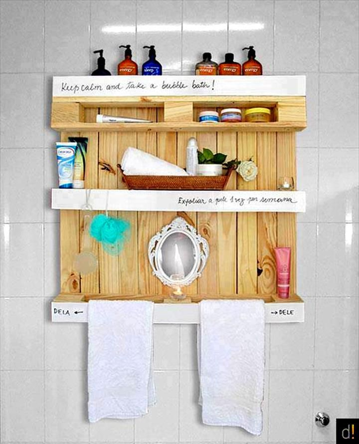 Diy Bathroom Projects Pinterest: Pallet Bathroom Shelf With White Over Written Banners