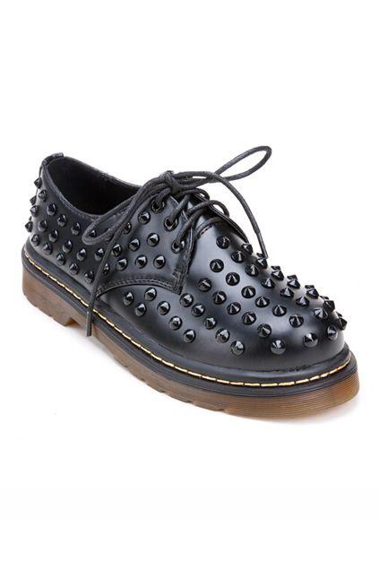 ROMWE Rivets Embellished Self-tie Shoes