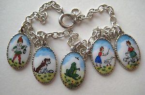 Vintage-Sterling-Silver-Enamel-German-Charm-Bracelet-Gnome-Dog-Frog-Little-Girl
