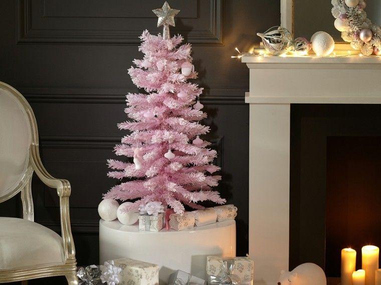 decoracion navidad ideas para decorar arbol rosa moderno - Arbol De Navidad Pequeo