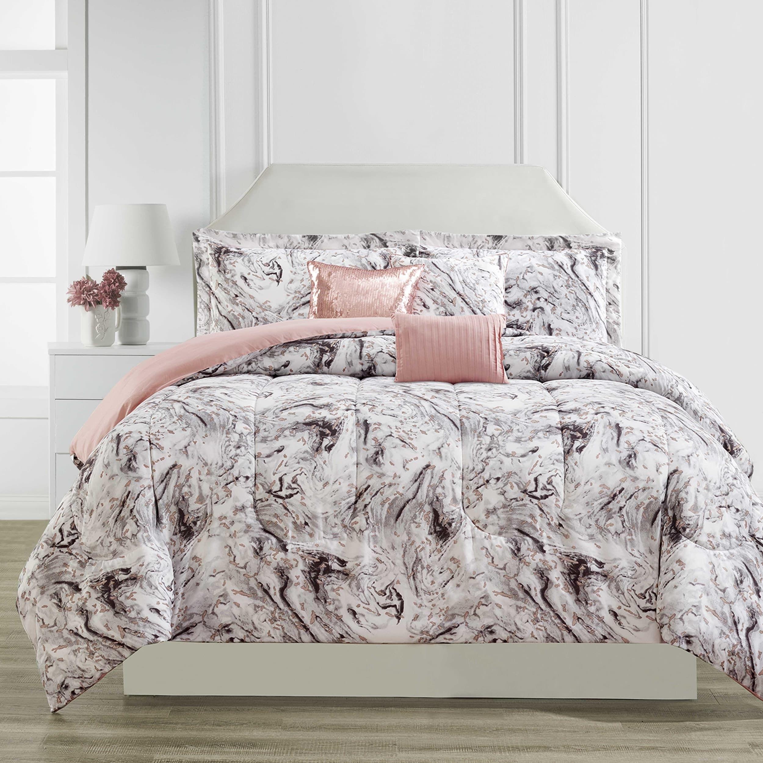 Cosmopolitan Marble 6 Piece Comforter Set Queen Grey Comforter Sets Bedding Sets Woman Bedroom