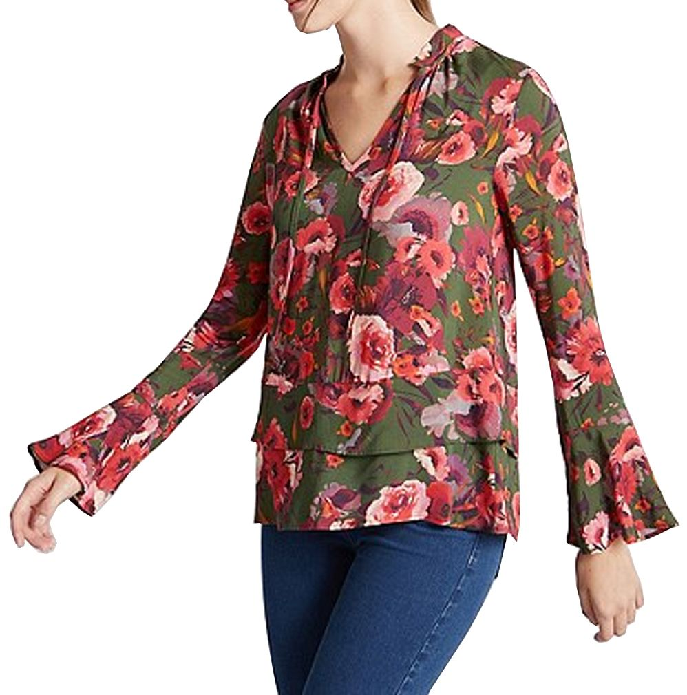 M&S COLLECTION Floral Print Tie Neck Long Sleeve Blouse.  UK14 EUR42  MRRP: £25.00GBP - AVI Price: £18.00GBP