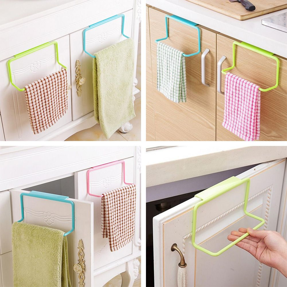 Over Door Towel Rack Bar Hanging Holder For Bathroom Kitchen Cabinets Shelf Rack