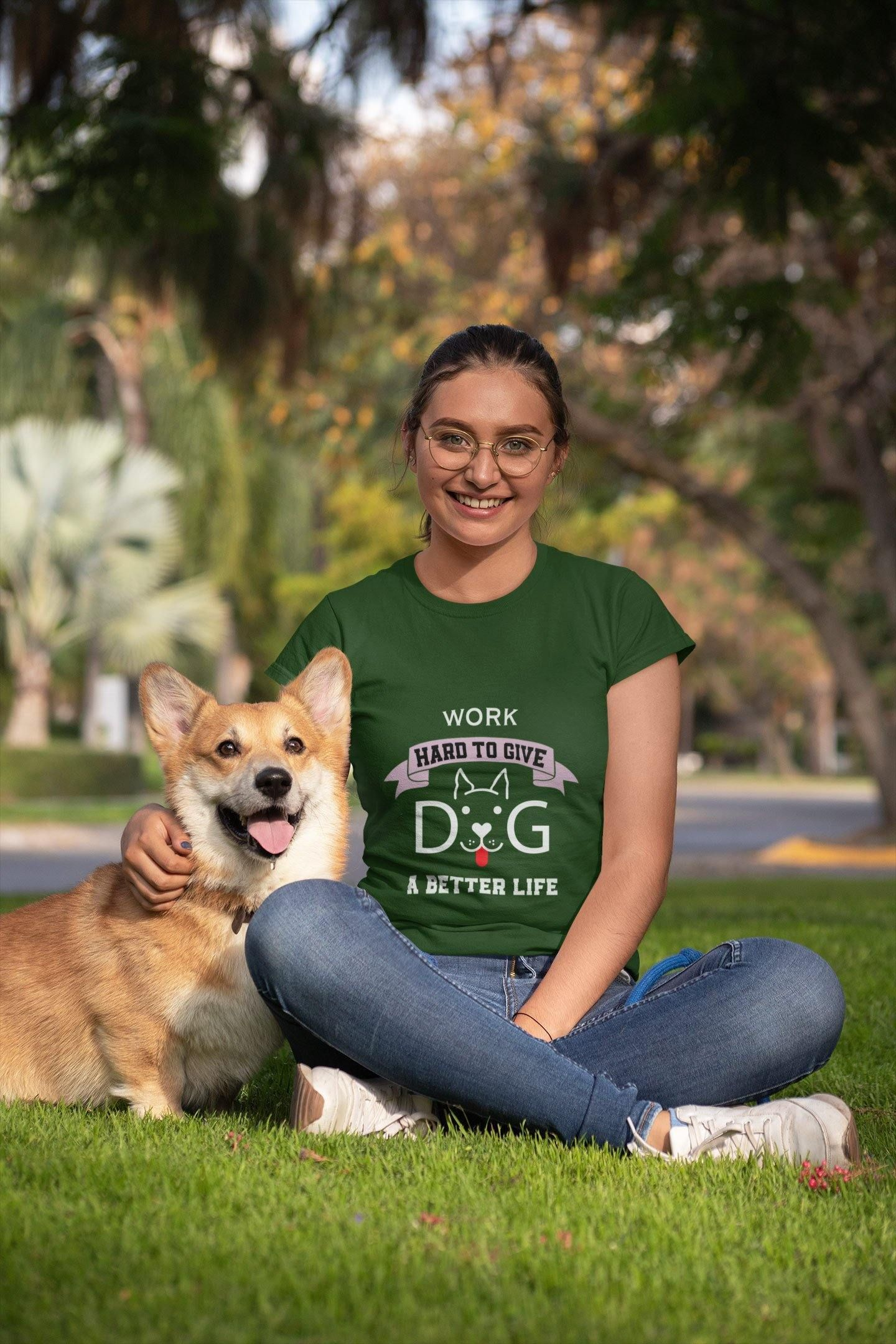 Photo of WORK HARD TO GIVE DOG A BETTER LIFE – Ladies Heavy Cotton T-Shirt / Forest Green / 3XL