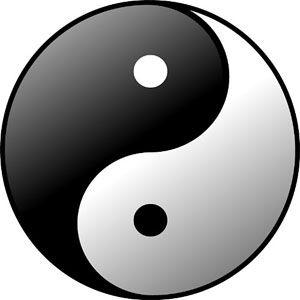 Yin (parte blanca) y yang (parte negra)