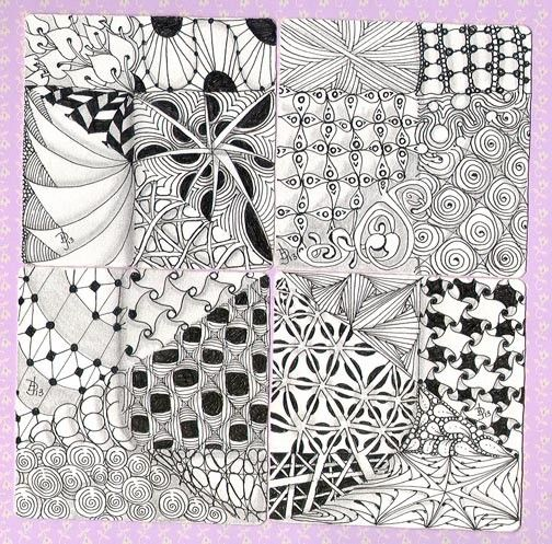 """Missing Tangle U"" weekend Zentangle ensemble project.My original work on four Zentangle tiles. Want to learn how? Ask me! I'm a CZT!"