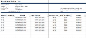 Product Price List Template At WordDocumentsCom  Microsoft