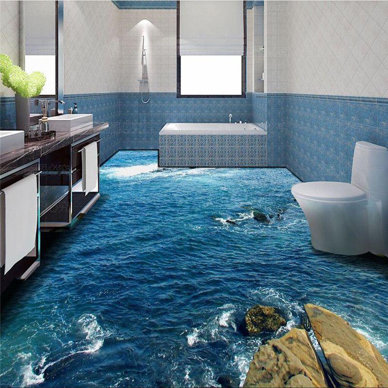 Modern Floor Painting Hd Blue Sea Reef, Waterproof Bathroom Flooring