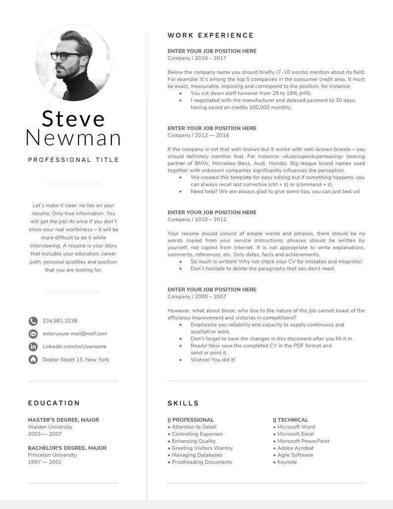 Minimalist resume template word professional resume cv