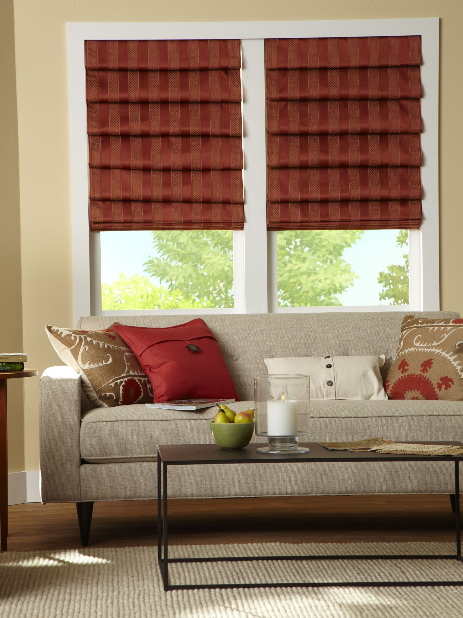 Custom Window Coverings Roman Shades Living Room Stands African Living Rooms
