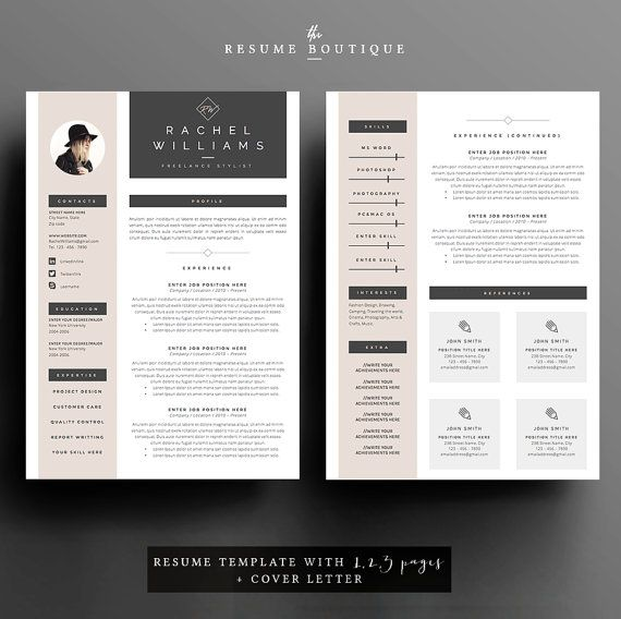 4 Page Resume Cv Template Cover Letter For Ms Word Instant