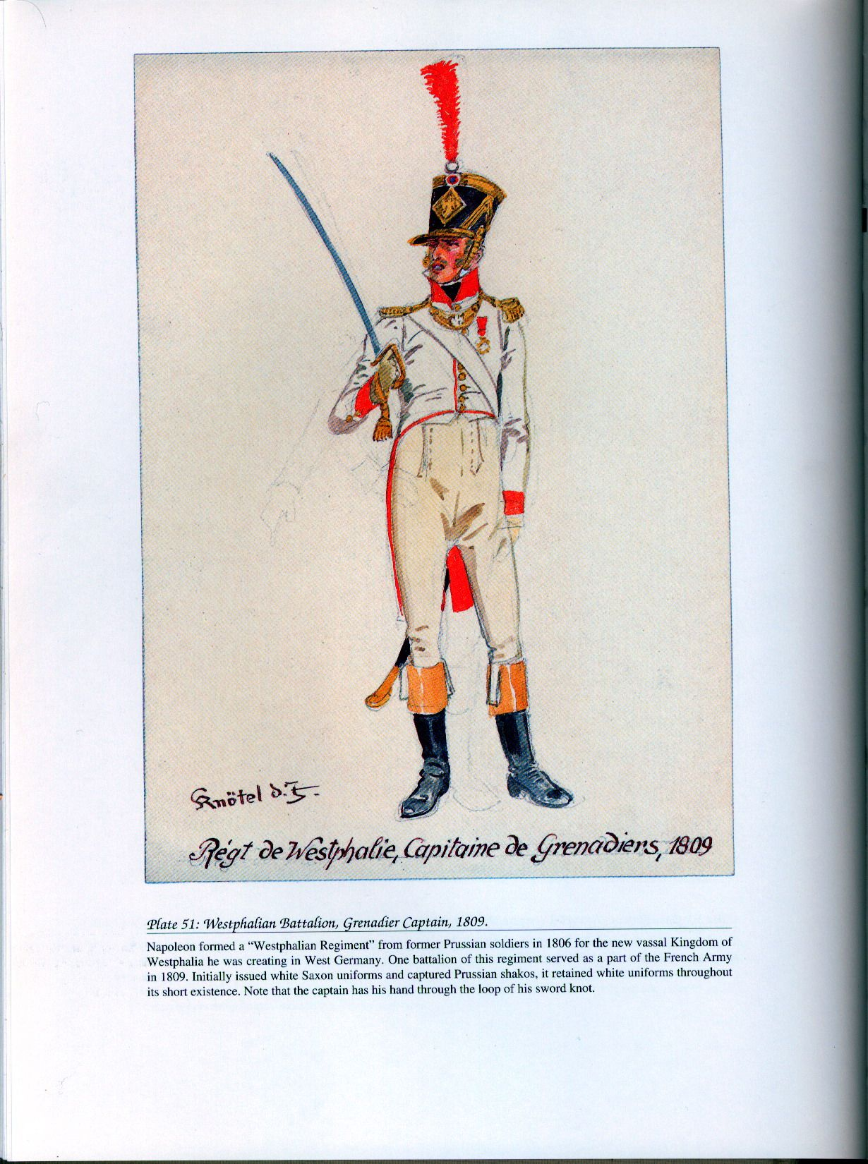 Foreign Troops: Plate 51: Westphalian Battalion, Grenadier Captain, 1809.