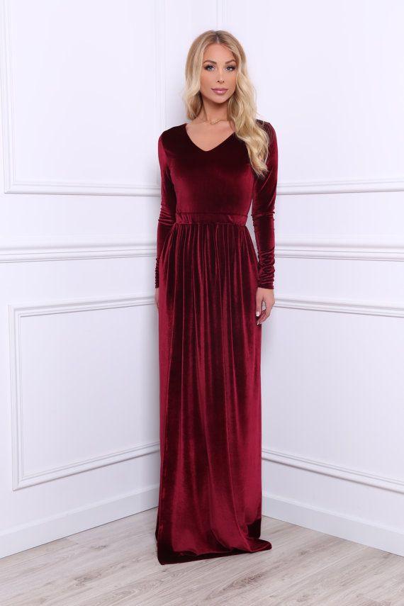 Burgundy Bridesmaid Party Velvet Maxi Dress  V Neck High Slit Long ... a49db1fb4