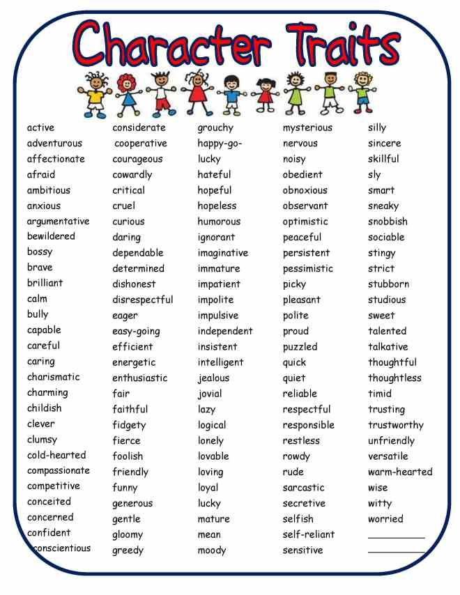 Positive Character Traits Puzzle \u2013 Printable Spanish