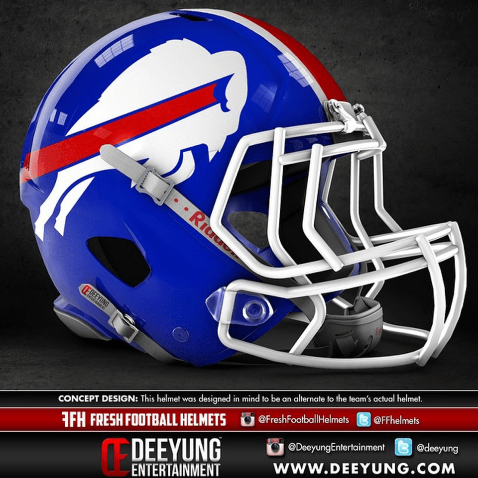 All 32 Nfl Team Helmets Were Given A More Modern Redesign And The Results Are Awesome Football Helmets 32 Nfl Teams Bills Football