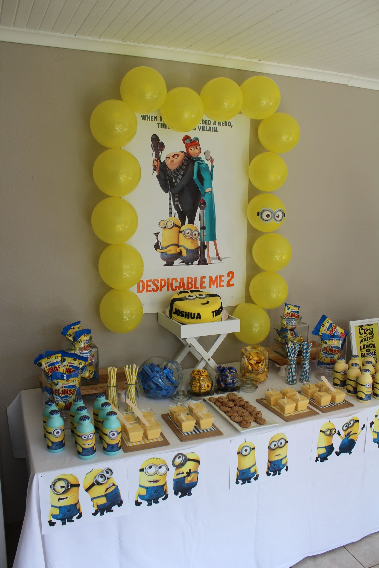 Pin By Jolita Kalausyte On My Parties Sugar Rush Parties Minion Birthday Party Minion Party Despicable Me Party