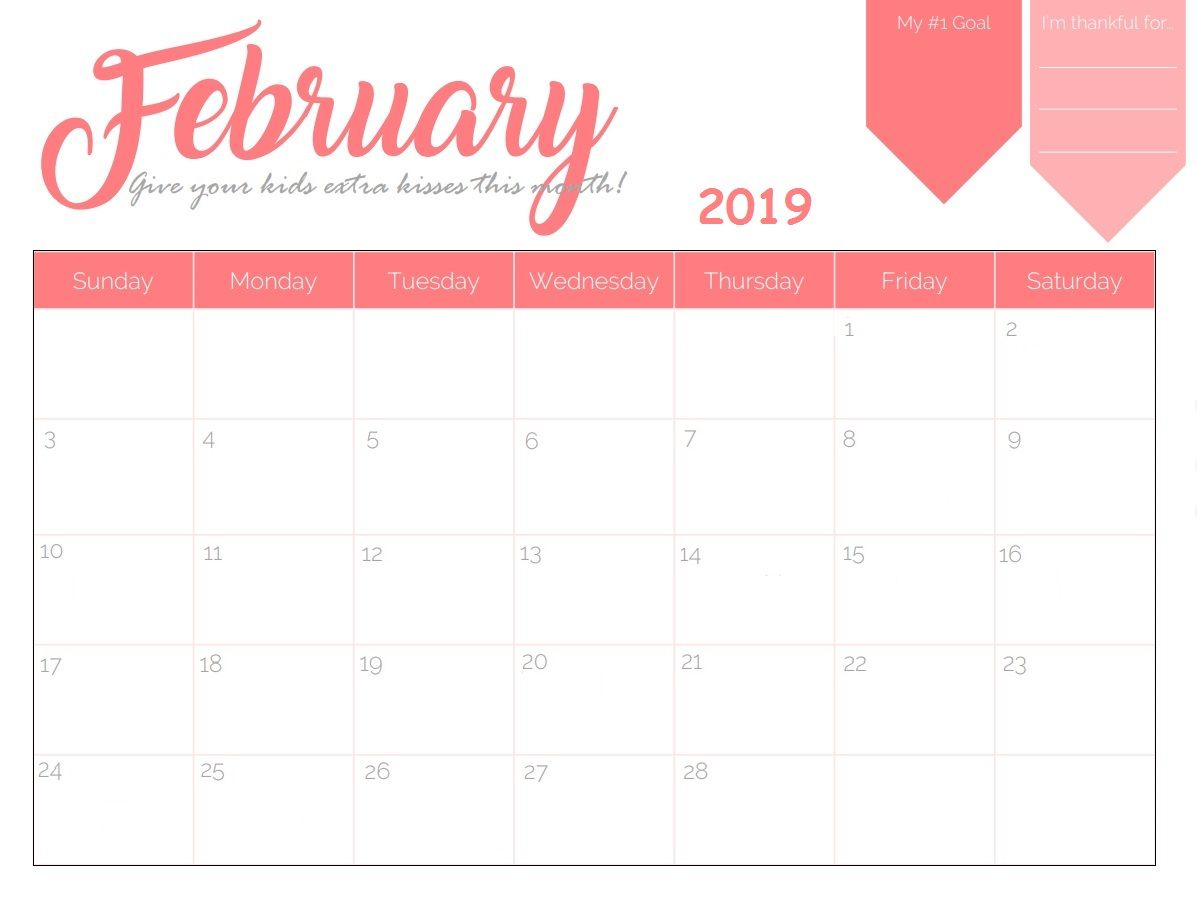 February Printable Calendar 2019 Cute Blank Desk Calendar February 2019 #February2019 #CalendarFebruary