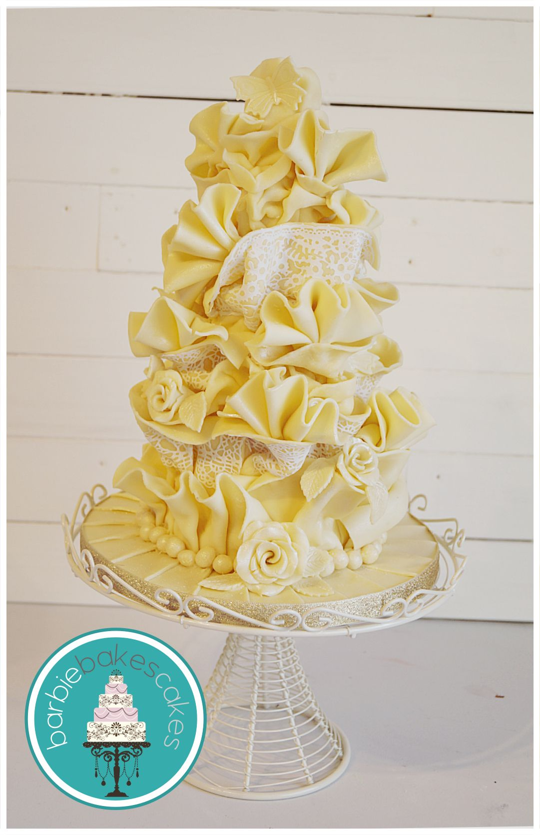 White chocolate wrap wedding cake Barbie Bakes Cakes web: www ...