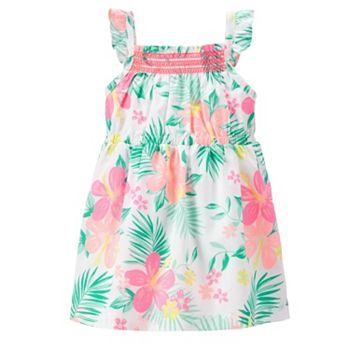 New Carter/'s Girls Smocked Tropical Floral Summer Dress NWT 4 Kid Jersey Cotton