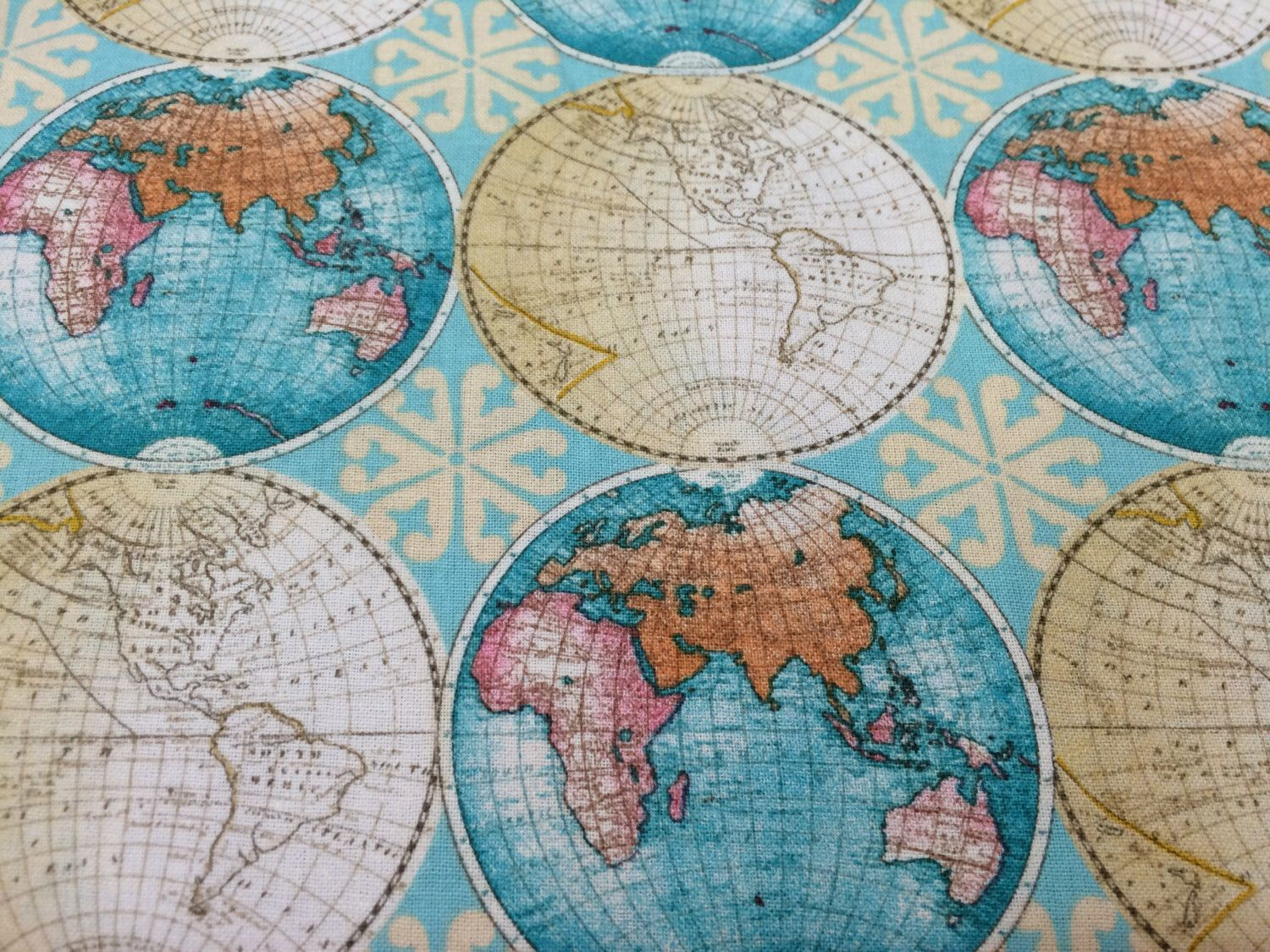 Vintage style globes world map fabric novelty fabric world map vintage style globes world map fabric novelty fabric world map globe gumiabroncs Image collections