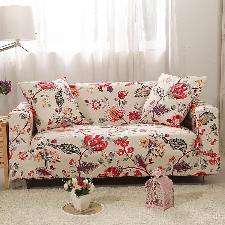 Ivory Red Floral Pattern Sofa Couch Cover Sectional Sofa