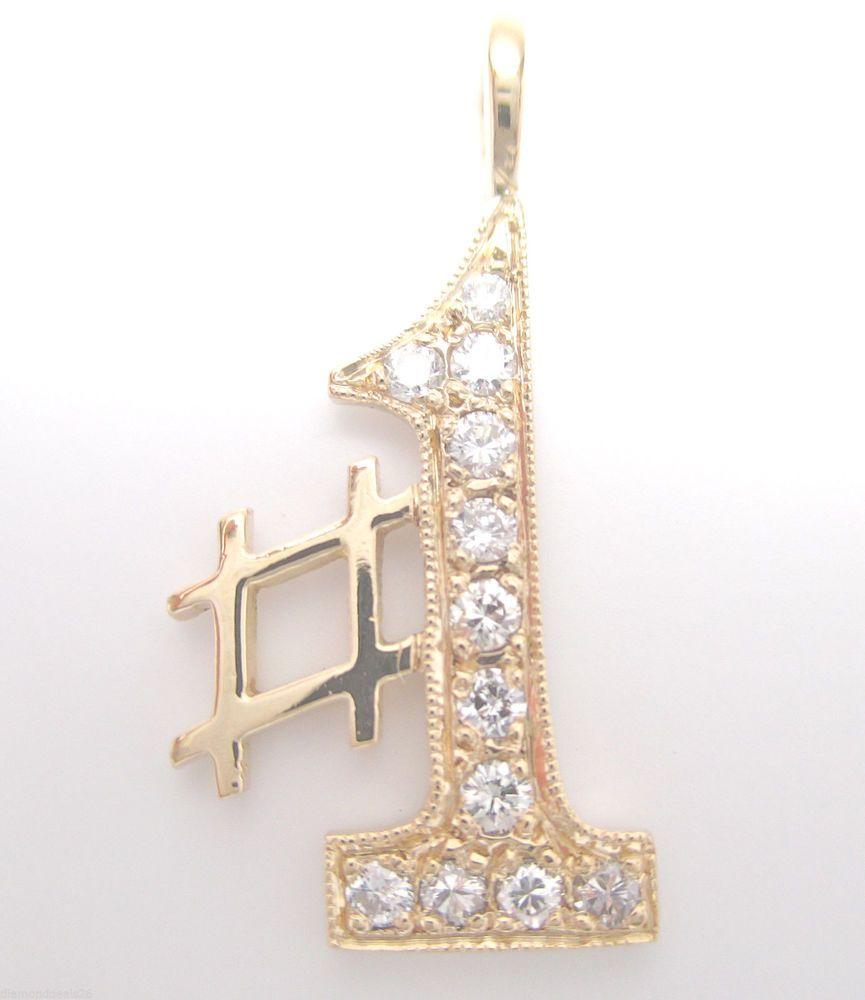 Vintage 0.23CT Fine Round Diamond #1 Design Pendant 14K Yellow Gold E/VS1 #Handmade #Pendant