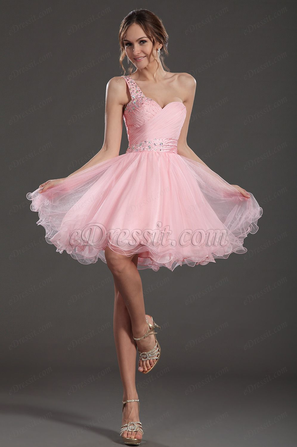 Pretty pink one strap cocktail dress party gown fashion and