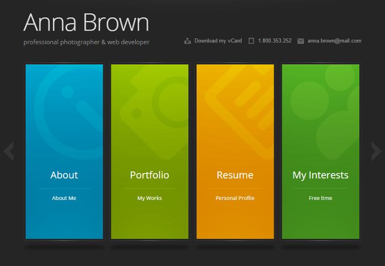Top 5 vCard, Personal Resume, CV Website HTML5 Templates