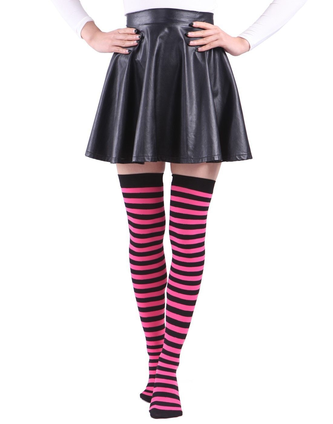 cool awesome women's plus size striped stockings thigh high over