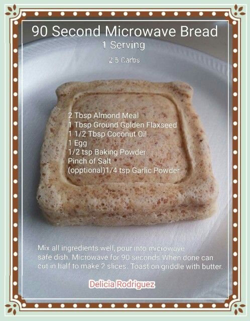 90 Second Low Carb Bread almond flour flax microwave mug roll bread muffin | 0Recipes & Info ...