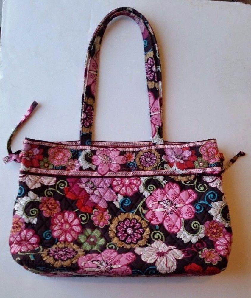 Vera Bradley Mod Floral Pink Tote Bag Retired Pattern Brown Floral   VeraBradley  TotesShoppers 6d61714a1c70b