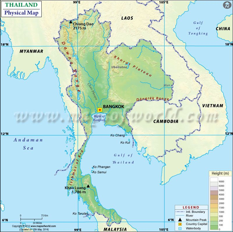 Physical Map Of Thailand Maps Pinterest Sea Level Ocean And - Physical of map venezuela