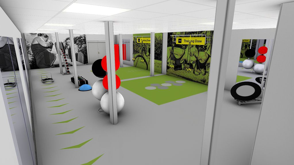 D gym design for scotstoun leisure centre functional zone