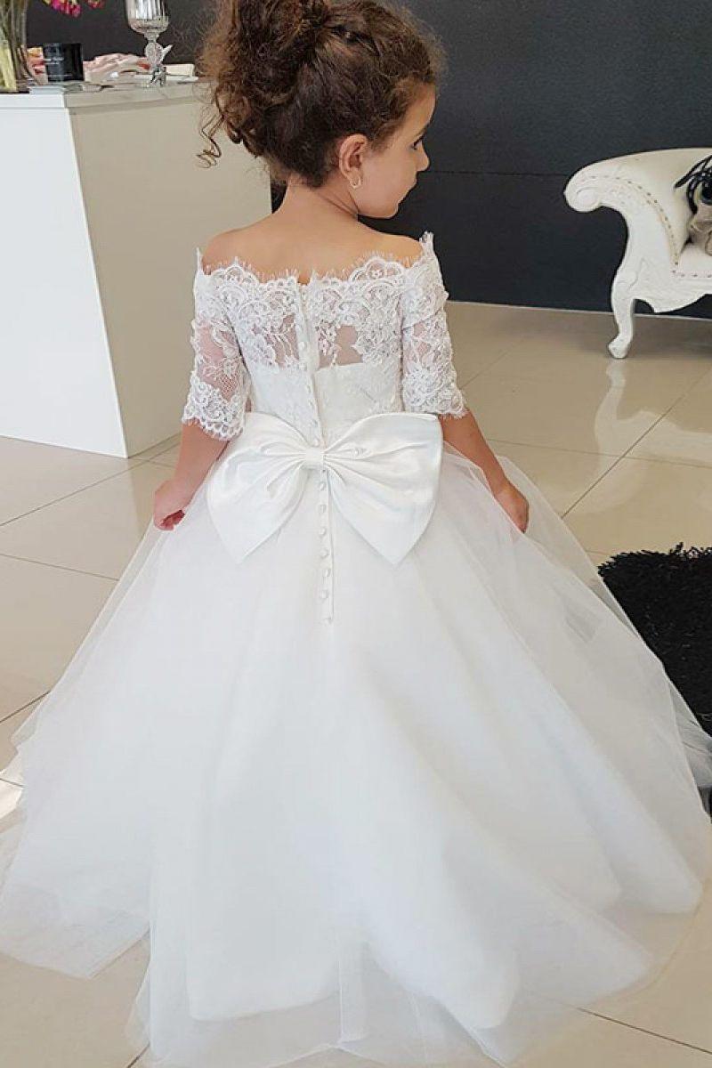 Cute Off the Shoulder White Flower Girl Dress   White flower girl ...
