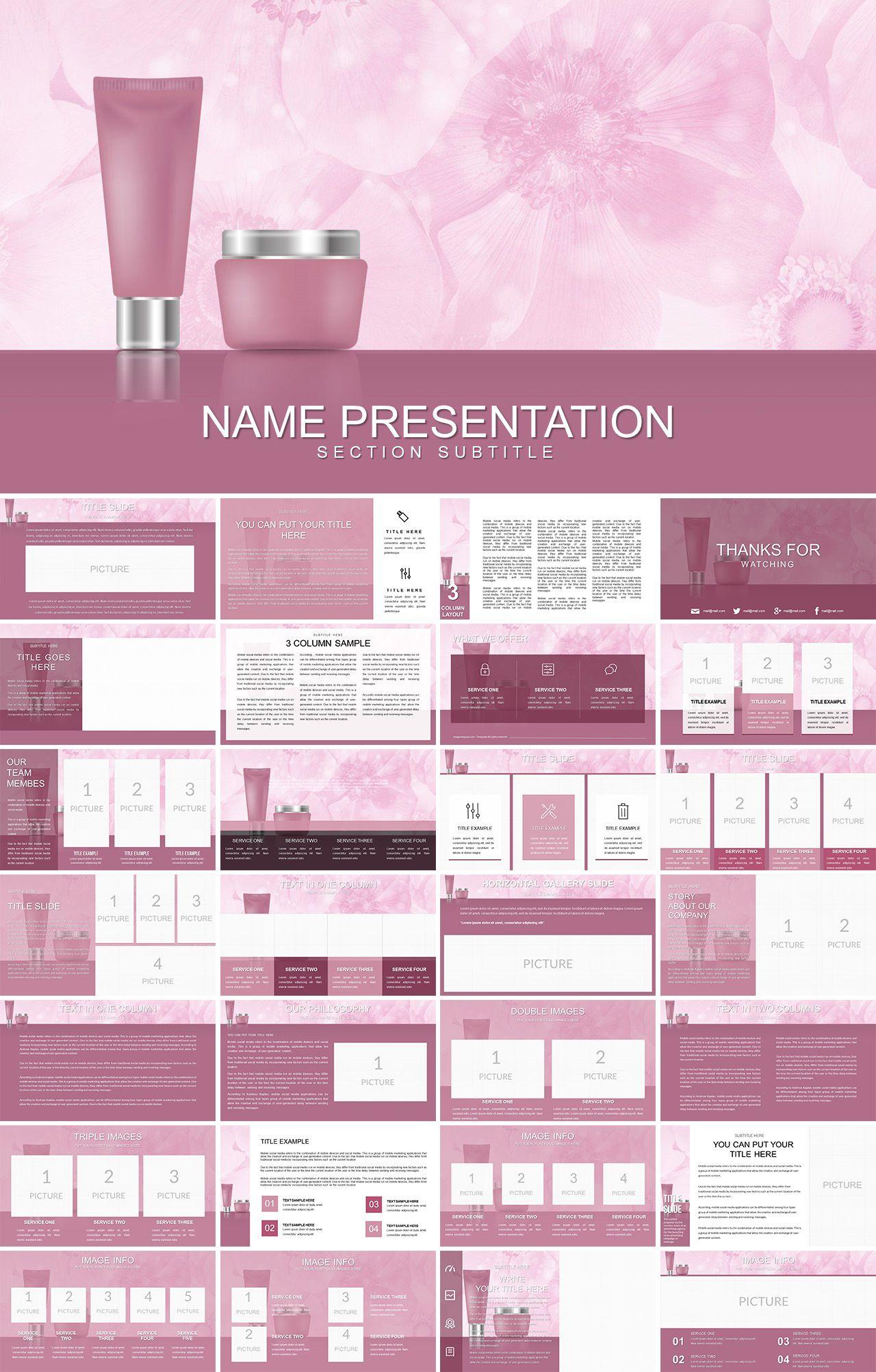 Makeup Cosmetics Powerpoint Template Powerpoint Templates Powerpoint Ppt Template Design