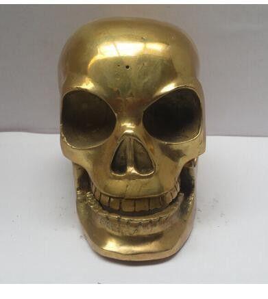 Copper Brass Metal Crafts Chinese Brass Carved Skull Statue , Skeleton head sculpture crafts decoration