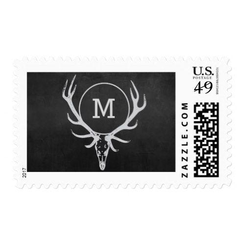Chalkboard Elk Reindeer Monogram Postage Stamp