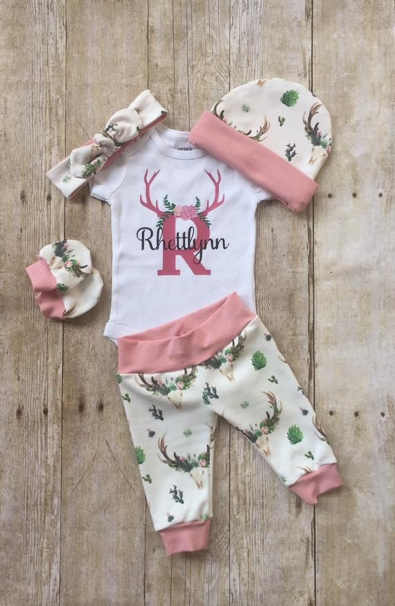 Photo of Floral Deer Skull Coming Home Outfit, Personalized Girls Baby Set, Baby Shower Gift, Custom Newborn Hospital Set, Floral Antlers Layette