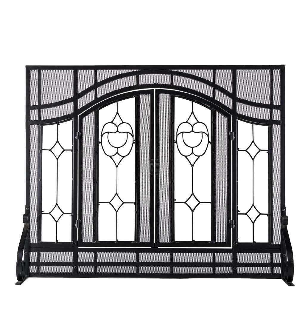 plow and hearth floral large fireplace screen with doors tempered