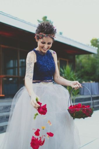 c2d5b7713 Glam flower girl outfit idea - adult flower girl with blue + gray dress  with tulle skirt {Hyer Images}