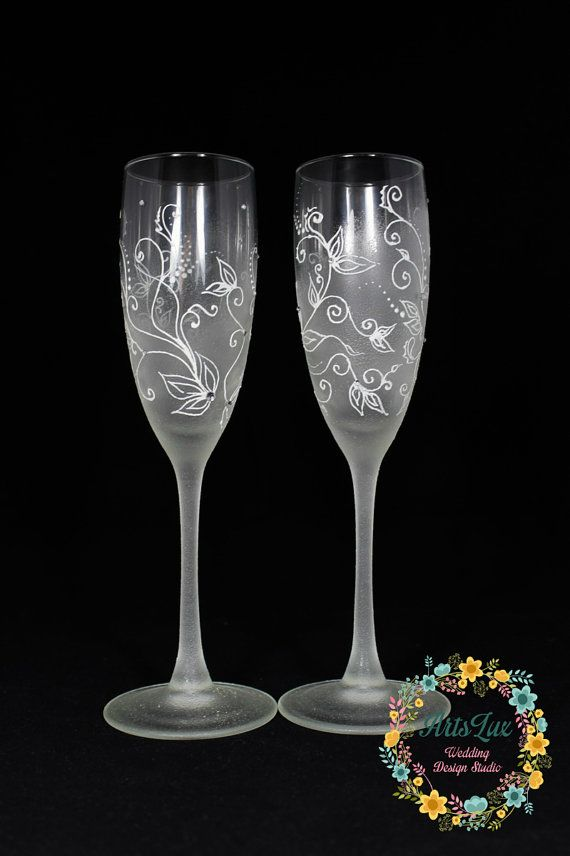 Frosty Wedding Champagne Glasses Hand Painted White Wedding